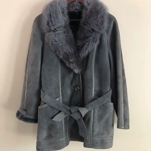 Gray Leather and Fur Coat - Fits M